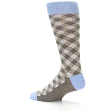 Image of Heather Brown Diamond Plaid Men's Dress Socks (side-2-13)