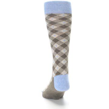Image of Heather Brown Diamond Plaid Men's Dress Socks (side-2-back-16)