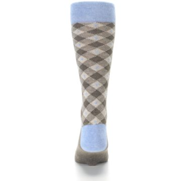 Image of Heather Brown Diamond Plaid Men's Dress Socks (back-17)