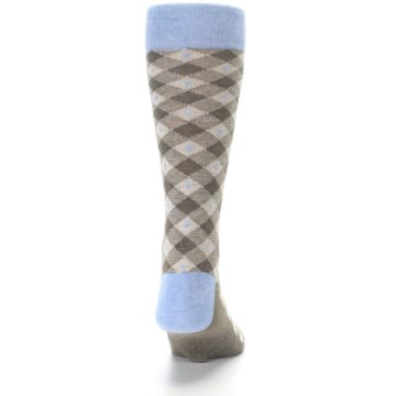 Image of Heather Brown Diamond Plaid Men's Dress Socks (back-18)