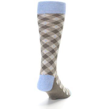 Image of Heather Brown Diamond Plaid Men's Dress Socks (back-19)