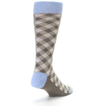 Image of Heather Brown Diamond Plaid Men's Dress Socks (side-1-back-20)