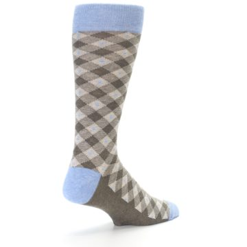Image of Heather Brown Diamond Plaid Men's Dress Socks (side-1-back-21)