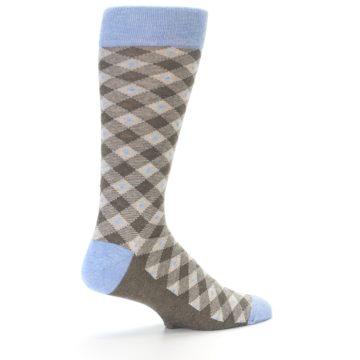 Image of Heather Brown Diamond Plaid Men's Dress Socks (side-1-back-22)