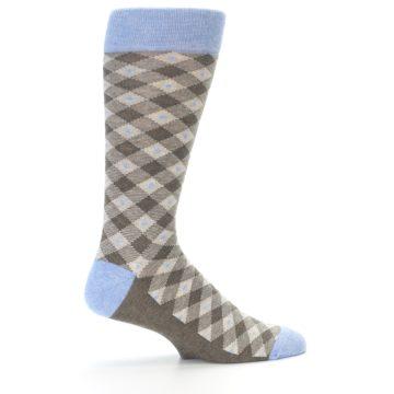 Image of Heather Brown Diamond Plaid Men's Dress Socks (side-1-23)