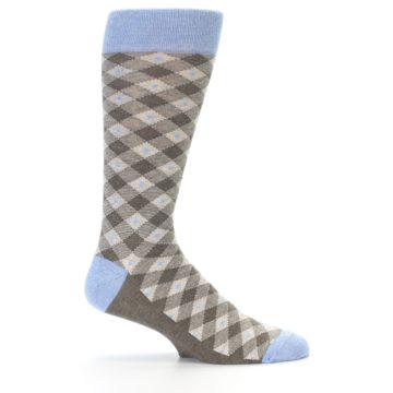Image of Heather Brown Diamond Plaid Men's Dress Socks (side-1-24)