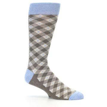 Image of Heather Brown Diamond Plaid Men's Dress Socks (side-1-25)
