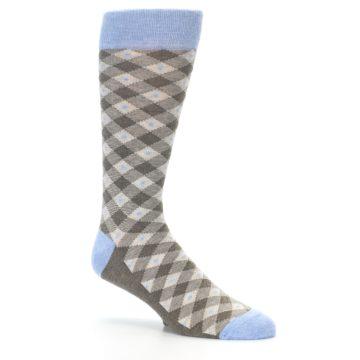 Image of Heather Brown Diamond Plaid Men's Dress Socks (side-1-26)