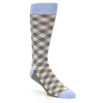 Image of Heather Brown Diamond Plaid Men's Dress Socks (side-1-27)
