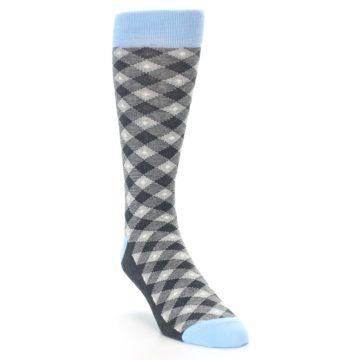 Image of Grey Blue Diamond Plaid Men's Dress Socks (side-1-front-02)