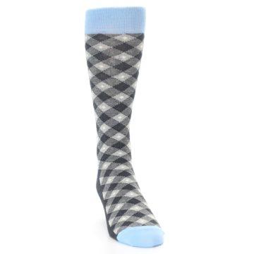 Image of Grey Blue Diamond Plaid Men's Dress Socks (side-1-front-03)