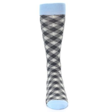 Image of Grey Blue Diamond Plaid Men's Dress Socks (front-04)