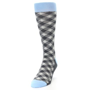 Image of Grey Blue Diamond Plaid Men's Dress Socks (side-2-front-06)