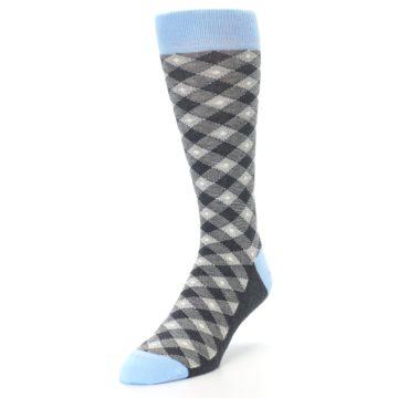 Image of Grey Blue Diamond Plaid Men's Dress Socks (side-2-front-07)
