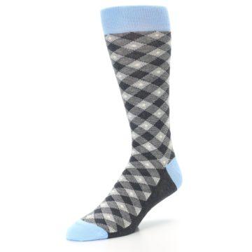 Image of Grey Blue Diamond Plaid Men's Dress Socks (side-2-front-08)