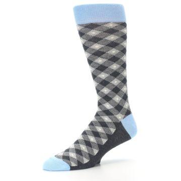 Image of Grey Blue Diamond Plaid Men's Dress Socks (side-2-09)