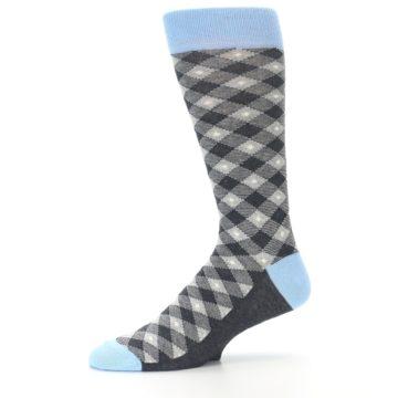 Image of Grey Blue Diamond Plaid Men's Dress Socks (side-2-10)
