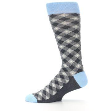 Image of Grey Blue Diamond Plaid Men's Dress Socks (side-2-11)