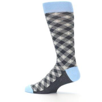 Image of Grey Blue Diamond Plaid Men's Dress Socks (side-2-12)