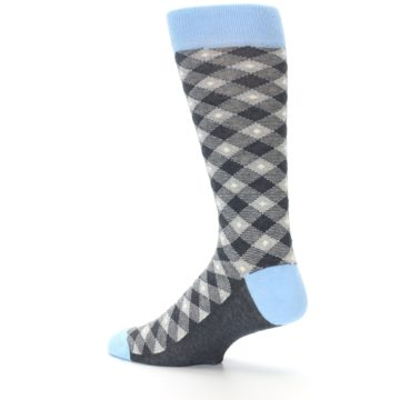 Image of Grey Blue Diamond Plaid Men's Dress Socks (side-2-13)