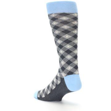 Image of Grey Blue Diamond Plaid Men's Dress Socks (side-2-back-14)
