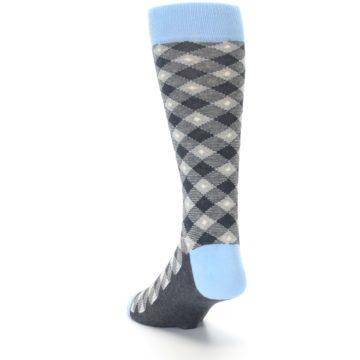 Image of Grey Blue Diamond Plaid Men's Dress Socks (side-2-back-15)