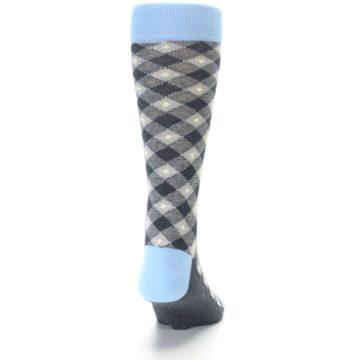 Image of Grey Blue Diamond Plaid Men's Dress Socks (back-18)