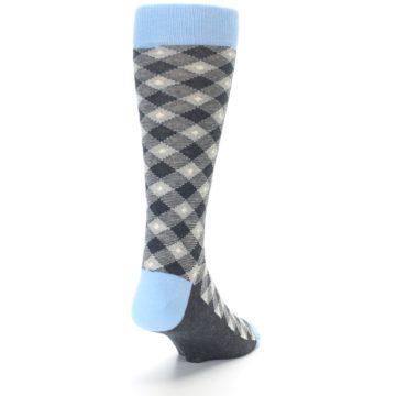 Image of Grey Blue Diamond Plaid Men's Dress Socks (back-19)