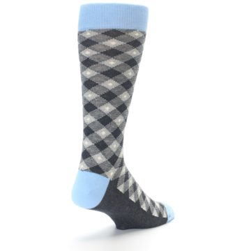 Image of Grey Blue Diamond Plaid Men's Dress Socks (side-1-back-20)