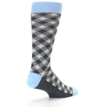 Image of Grey Blue Diamond Plaid Men's Dress Socks (side-1-back-21)