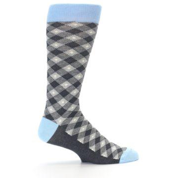 Image of Grey Blue Diamond Plaid Men's Dress Socks (side-1-23)