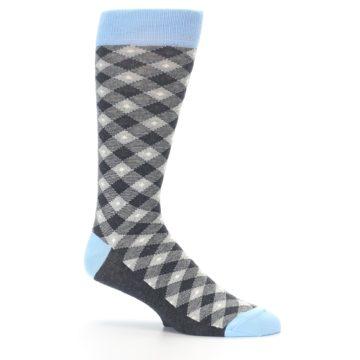 Image of Grey Blue Diamond Plaid Men's Dress Socks (side-1-25)