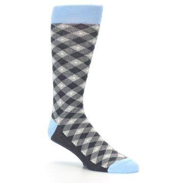 Image of Grey Blue Diamond Plaid Men's Dress Socks (side-1-26)