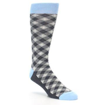 Image of Grey Blue Diamond Plaid Men's Dress Socks (side-1-27)
