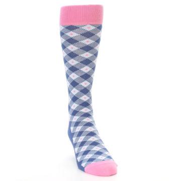 Image of Blue Pink Diamond Plaid Men's Dress Socks (side-1-front-03)