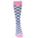 Image of Blue Pink Diamond Plaid Men's Dress Socks (front-04)