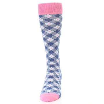 Image of Blue Pink Diamond Plaid Men's Dress Socks (front-05)