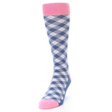 Image of Blue Pink Diamond Plaid Men's Dress Socks (side-2-front-06)