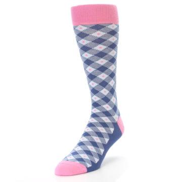 Image of Blue Pink Diamond Plaid Men's Dress Socks (side-2-front-07)