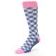 Image of Blue Pink Diamond Plaid Men's Dress Socks (side-2-front-08)
