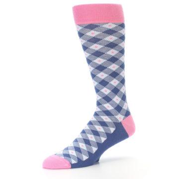 Image of Blue Pink Diamond Plaid Men's Dress Socks (side-2-09)