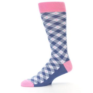 Image of Blue Pink Diamond Plaid Men's Dress Socks (side-2-10)