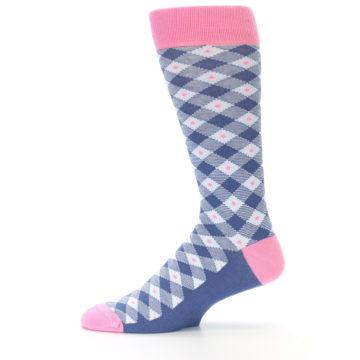 Image of Blue Pink Diamond Plaid Men's Dress Socks (side-2-11)