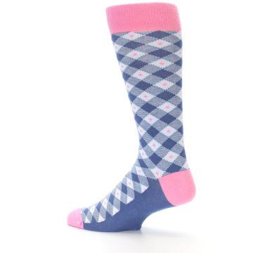 Image of Blue Pink Diamond Plaid Men's Dress Socks (side-2-13)