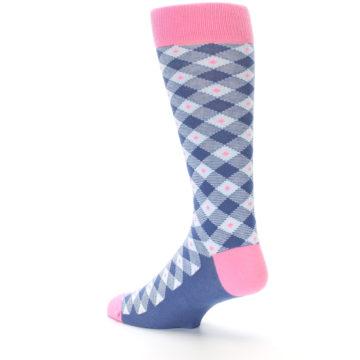 Image of Blue Pink Diamond Plaid Men's Dress Socks (side-2-back-14)