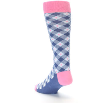 Image of Blue Pink Diamond Plaid Men's Dress Socks (side-2-back-15)