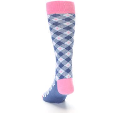 Image of Blue Pink Diamond Plaid Men's Dress Socks (side-2-back-16)