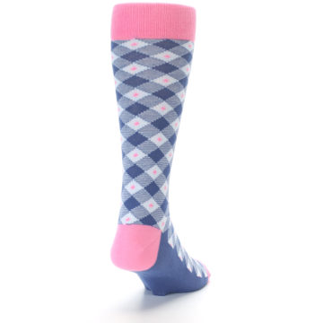 Image of Blue Pink Diamond Plaid Men's Dress Socks (back-19)