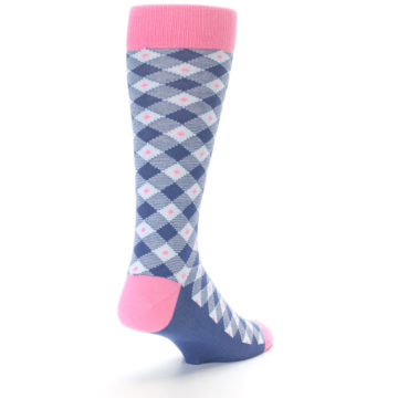 Image of Blue Pink Diamond Plaid Men's Dress Socks (side-1-back-20)