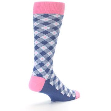 Image of Blue Pink Diamond Plaid Men's Dress Socks (side-1-back-21)